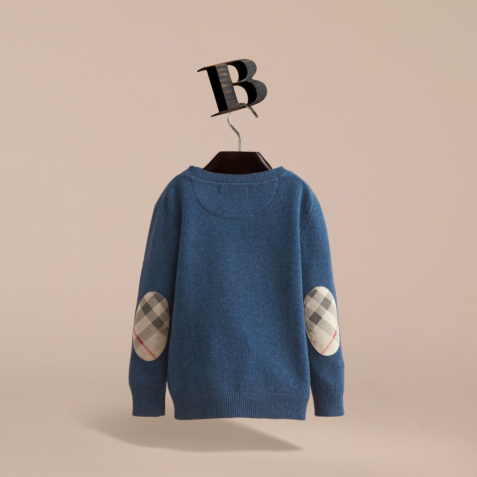 Check Elbow Patch Cashmere Sweater in Mineral Blue Melange - Boy | Burberry United Kingdom - gallery image 4