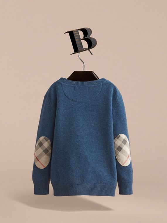 Check Elbow Patch Cashmere Sweater in Mineral Blue Melange - Boy | Burberry United Kingdom - cell image 3