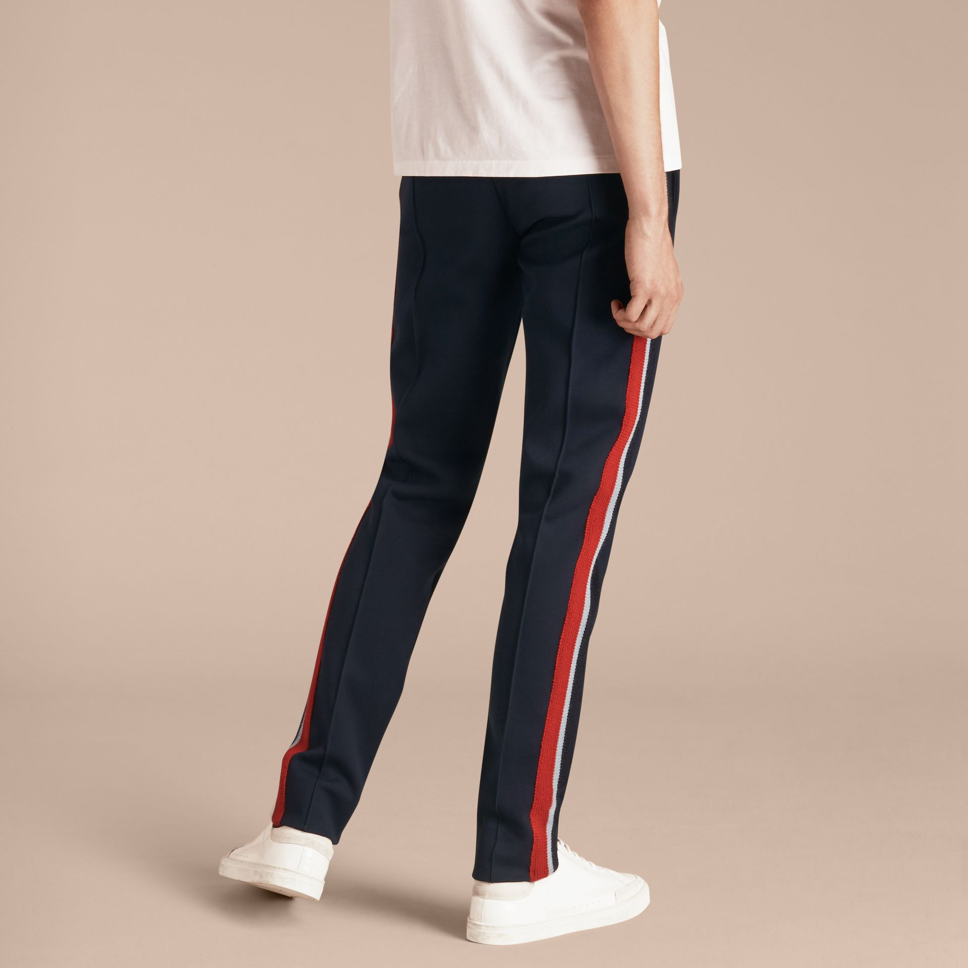 Navy Sports-striped Cotton Blend Sweat Pants - gallery image 3