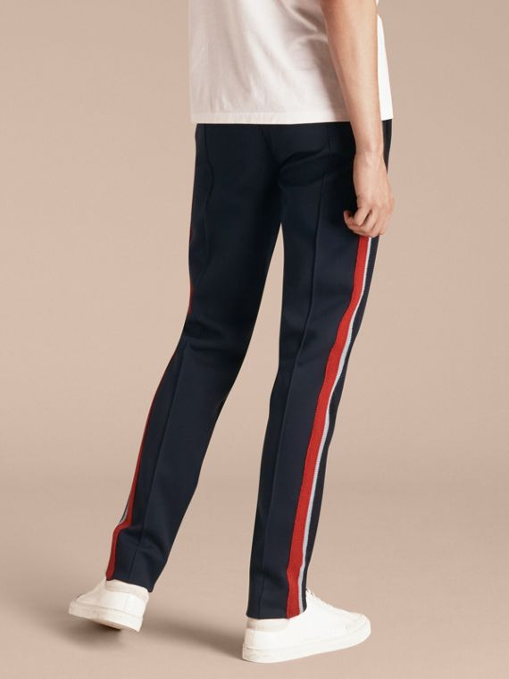 Navy Sports-striped Cotton Blend Sweat Pants - cell image 2