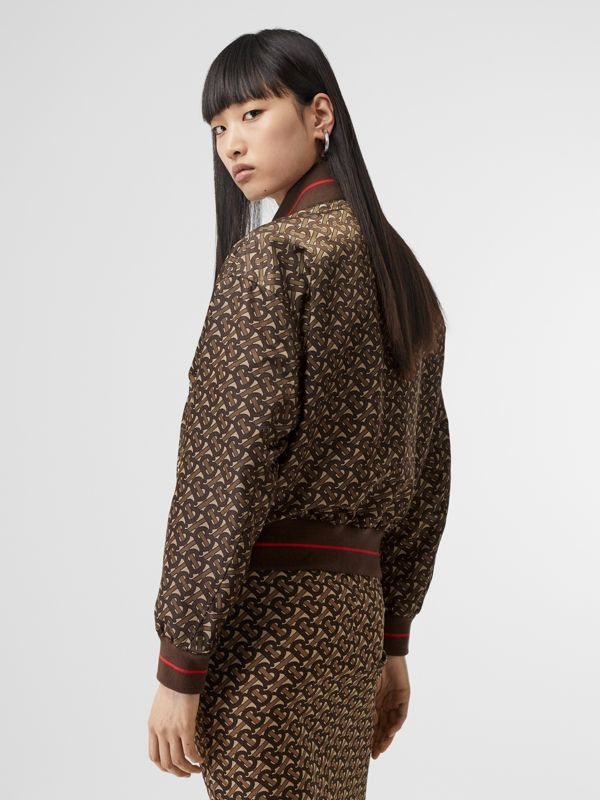 Monogram Stripe Print Nylon Bomber Jacket in Bridle Brown - Women | Burberry - cell image 2