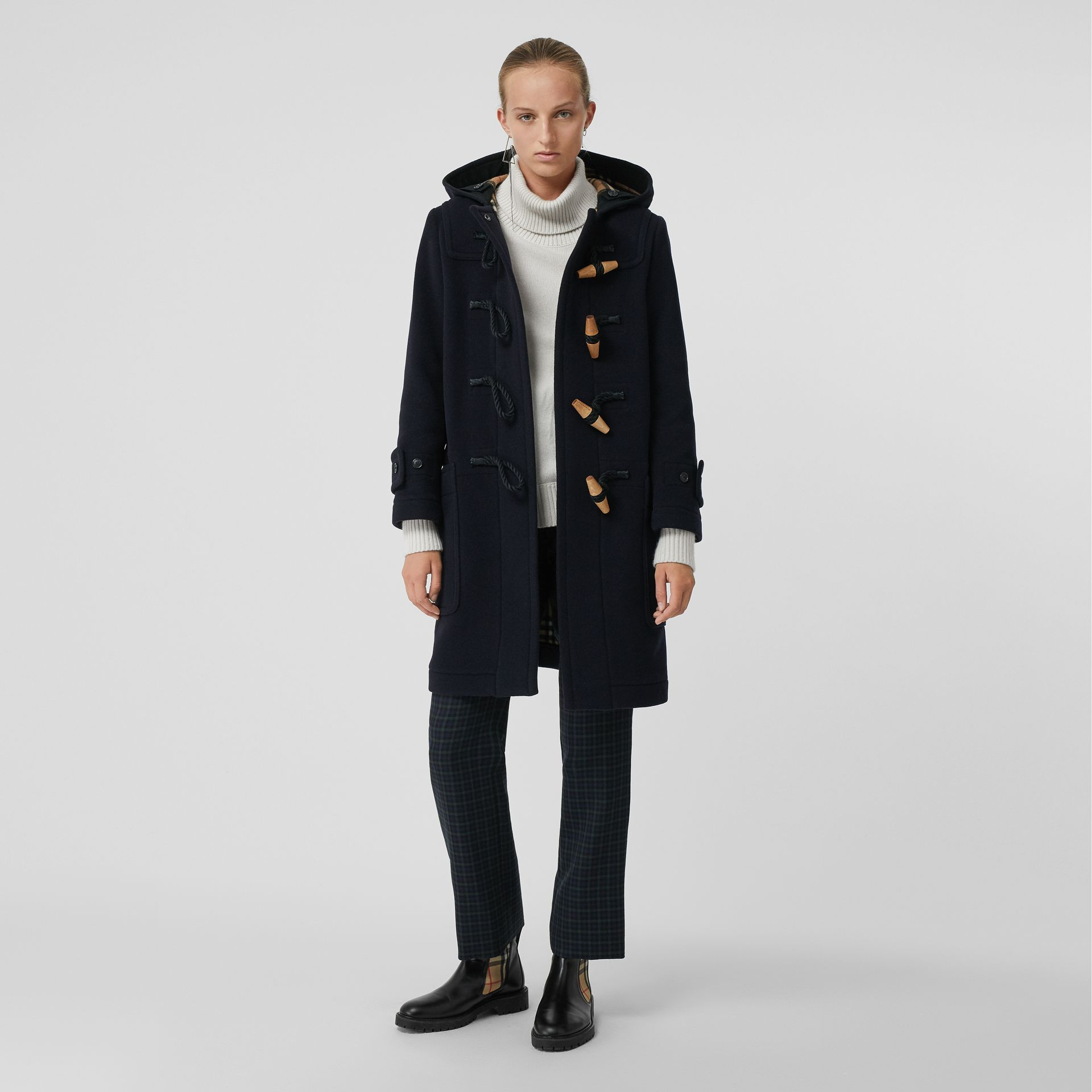 Wool Blend Oversized Duffle Coat in Navy - Women | Burberry United Kingdom - gallery image 0