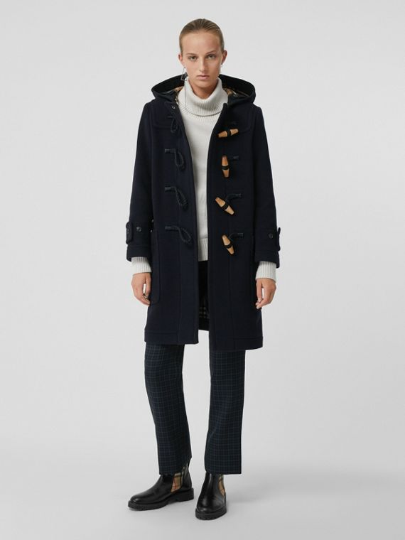 Wool Blend Oversized Duffle Coat in Navy