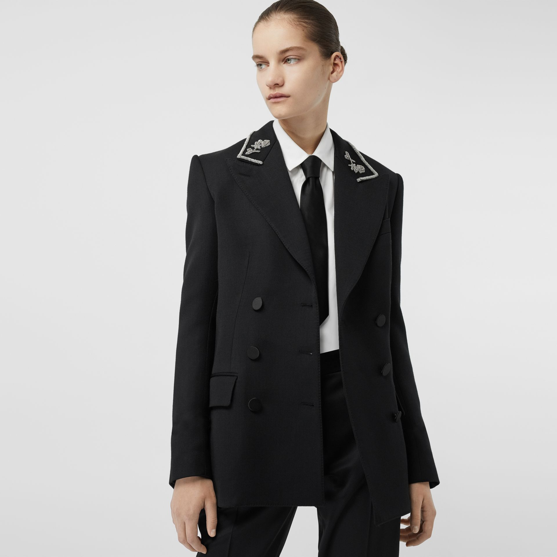 Bullion Stretch Wool Double-breasted Jacket in Black - Women | Burberry United Kingdom - gallery image 4