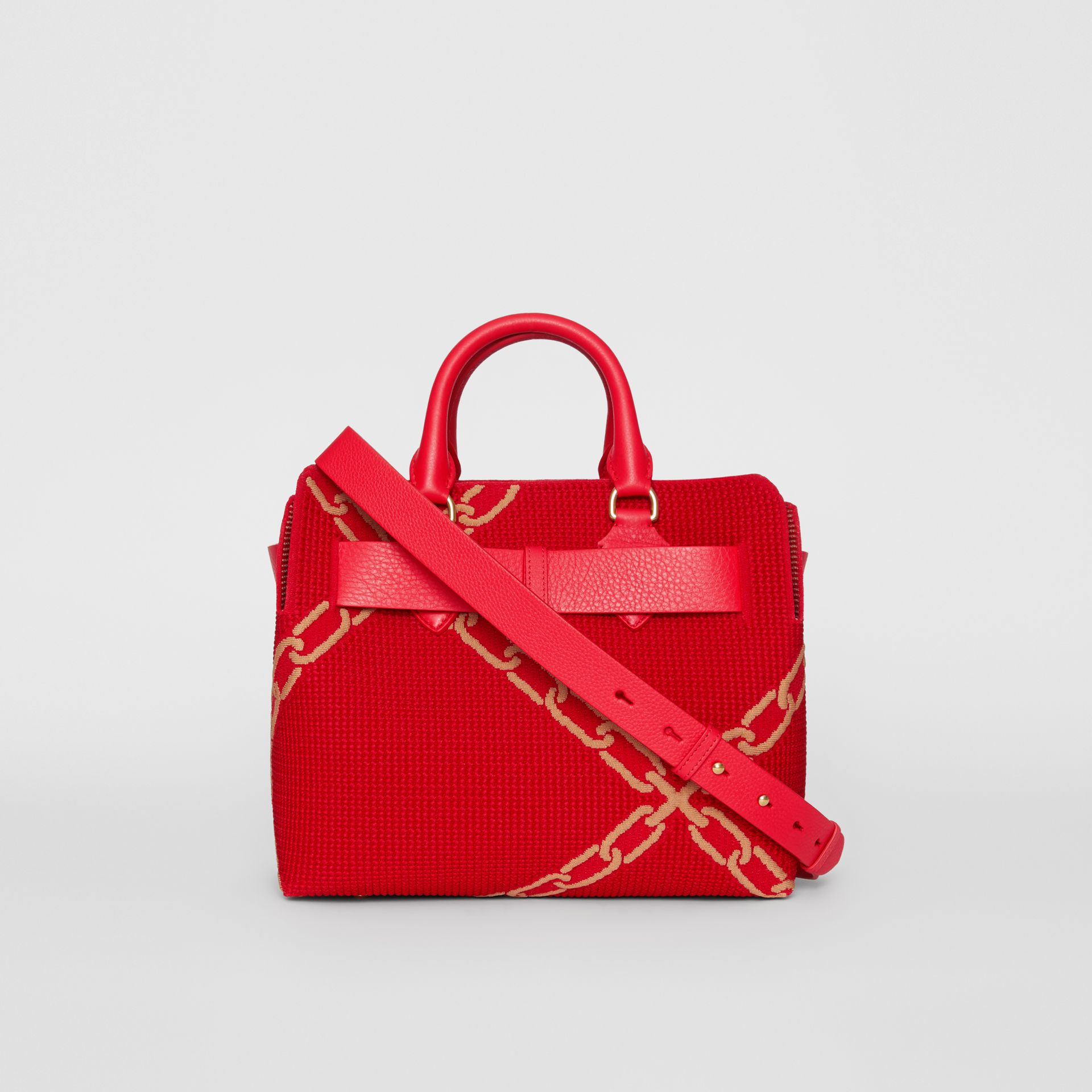 The Small Belt Bag mit Kettenmuster in Strickoptik (Leuchtendes Rot/helles Camelfarben) - Damen | Burberry - Galerie-Bild 5