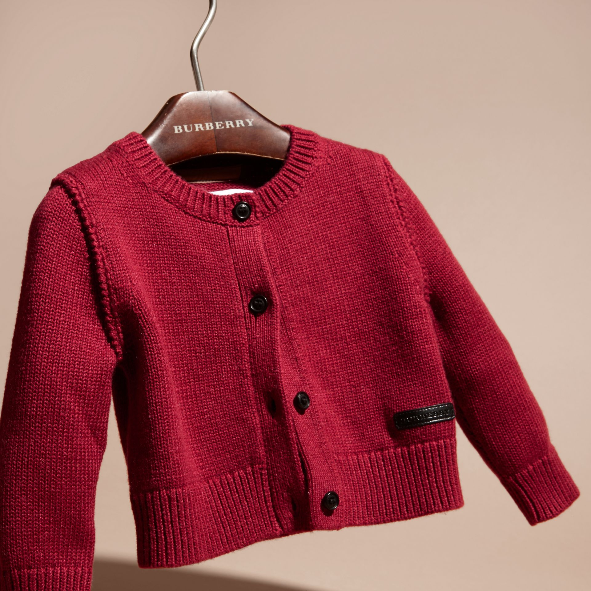 Dark plum pink Cashmere Cotton Cardigan Dark Plum Pink - gallery image 3
