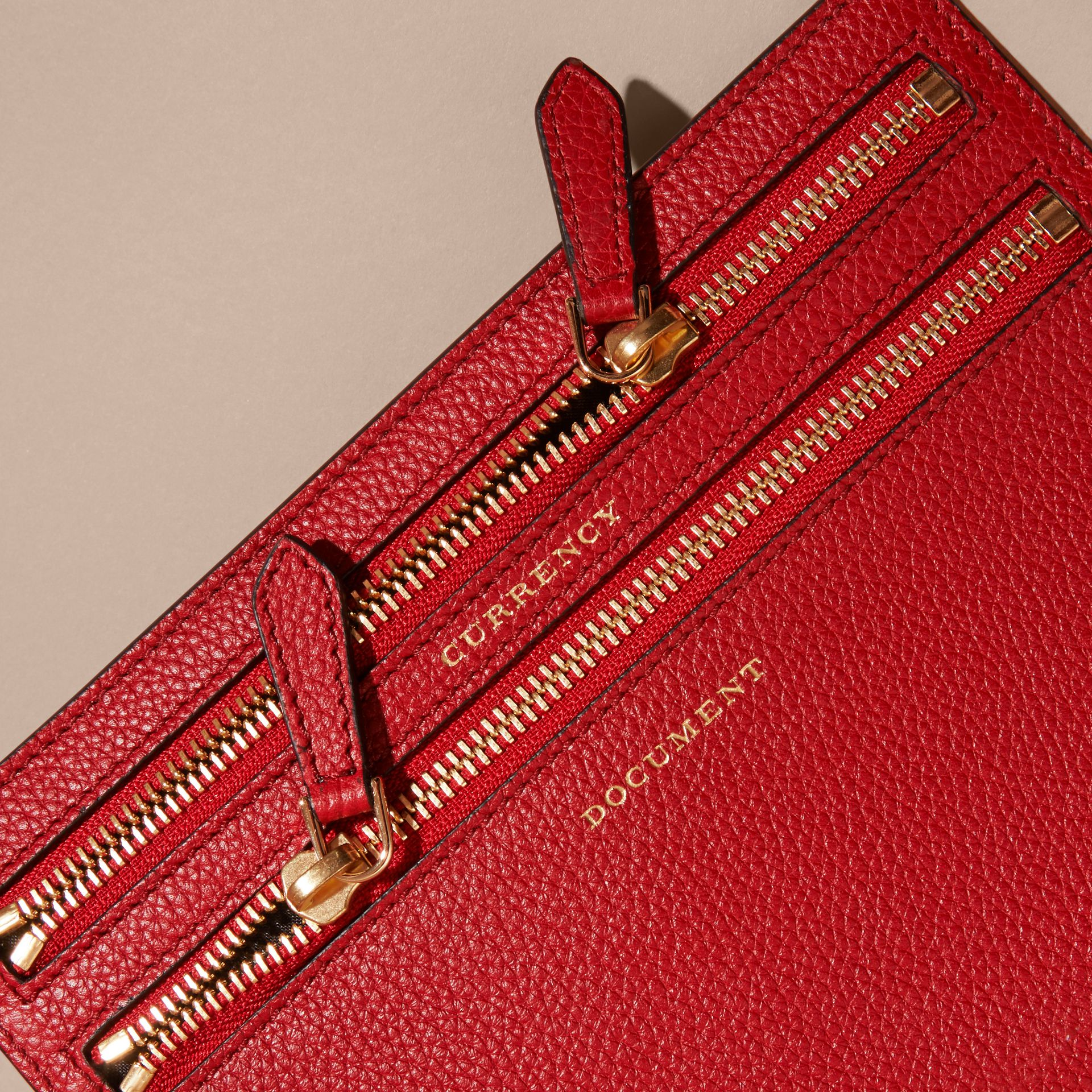 Grainy Leather Currency Wallet in Parade Red | Burberry - gallery image 2