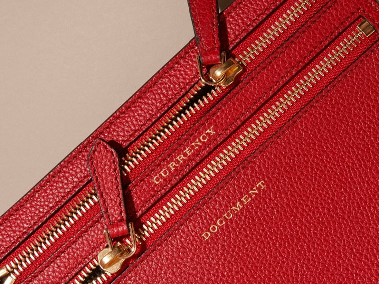 Grainy Leather Currency Wallet in Parade Red | Burberry - cell image 1