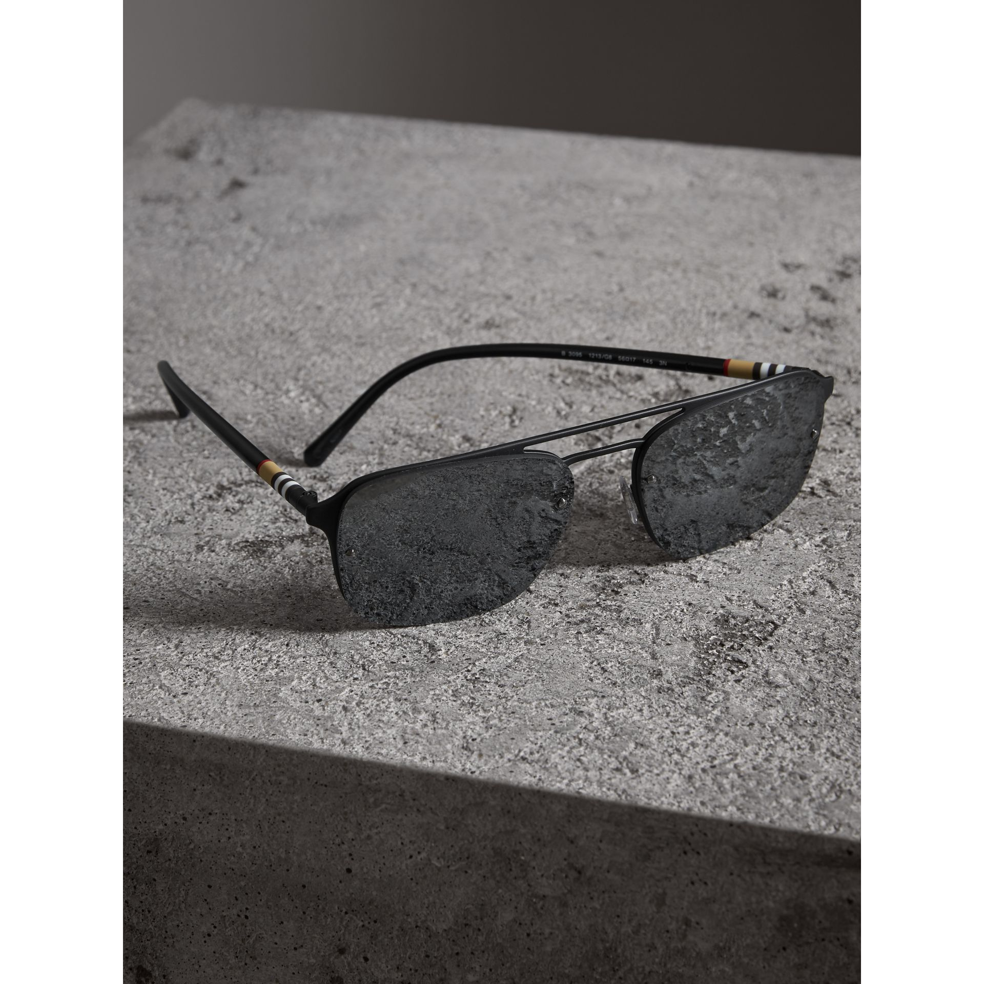 Square Frame Rubberised Metal Sunglasses in Black/grey - Men | Burberry Singapore - gallery image 2
