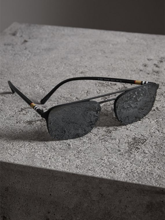 Square Frame Rubberised Metal Sunglasses in Black/grey - Men | Burberry - cell image 2