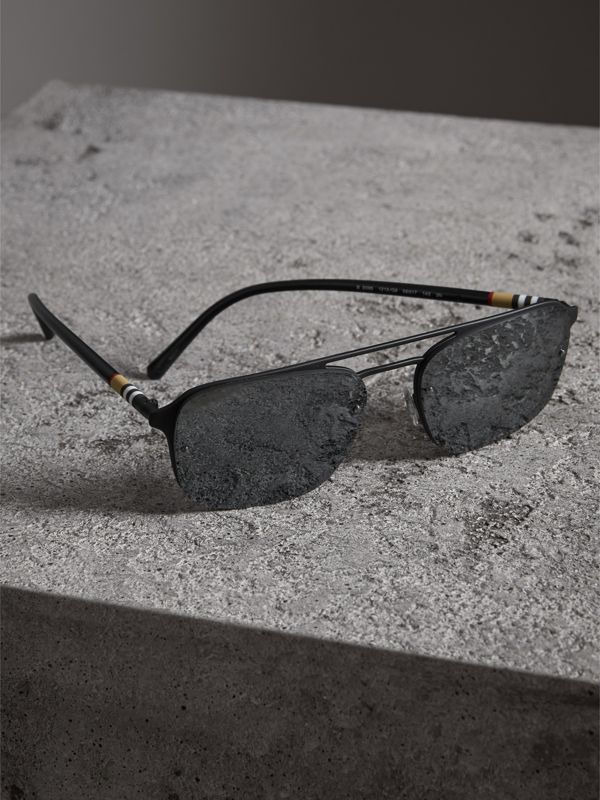 Square Frame Metal Sunglasses in Black/grey - Men | Burberry - cell image 2