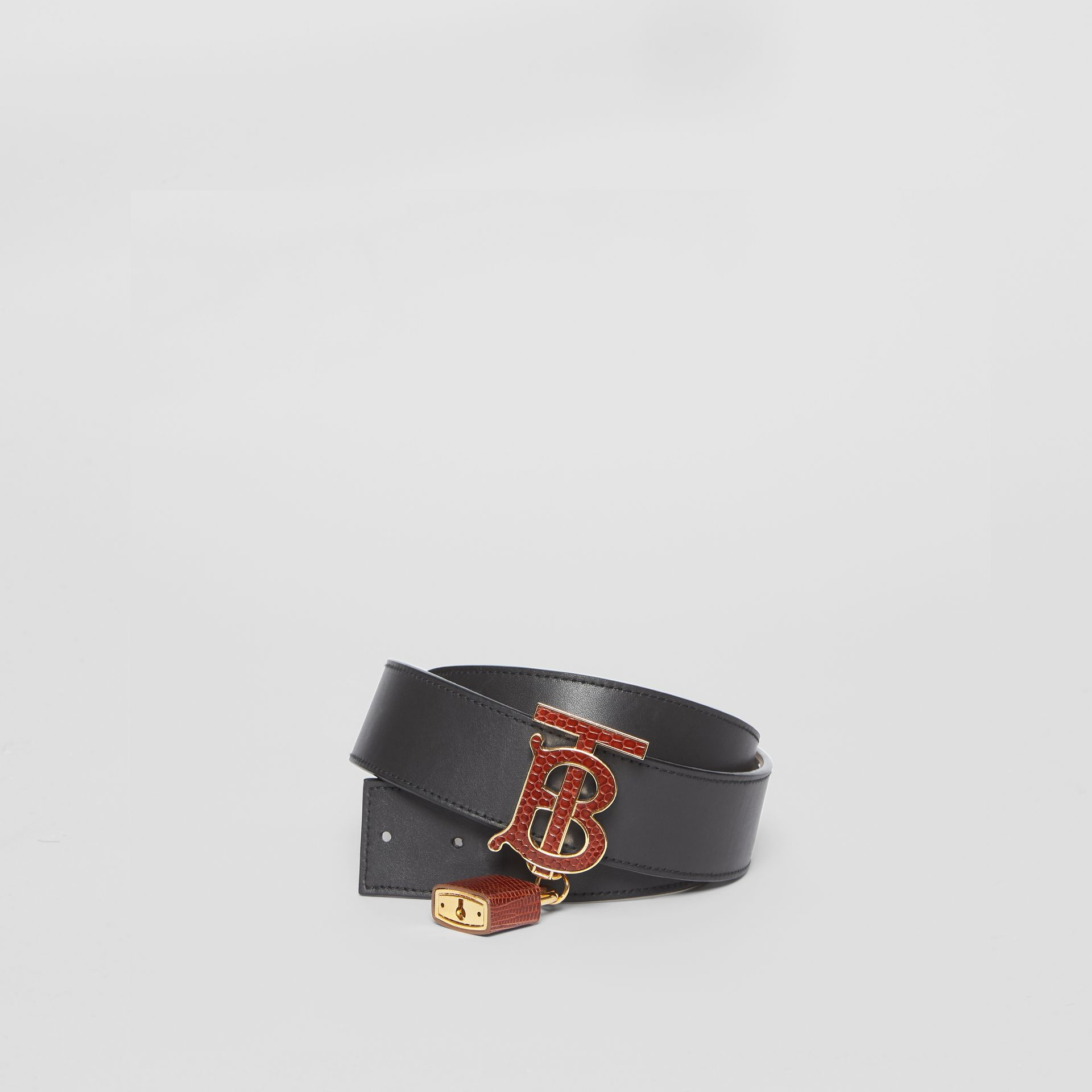 Padlock Detail Monogram Motif Leather Belt in Black/tan - Women | Burberry Australia - gallery image 0
