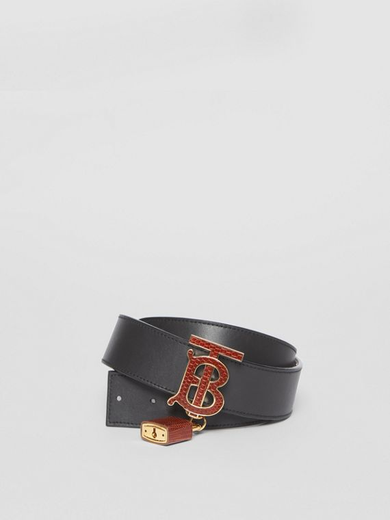 Padlock Detail Monogram Motif Leather Belt in Black/tan