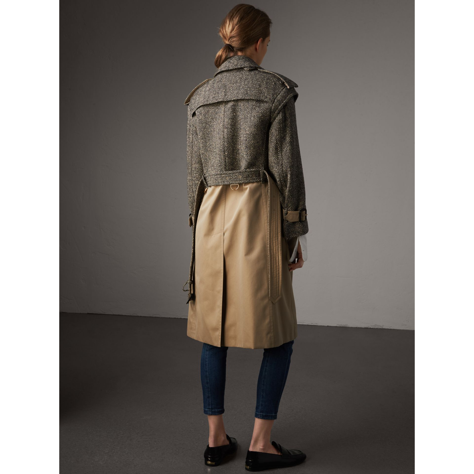 Donegal Tweed and Cotton Gabardine Trench Coat - Women | Burberry - gallery image 3