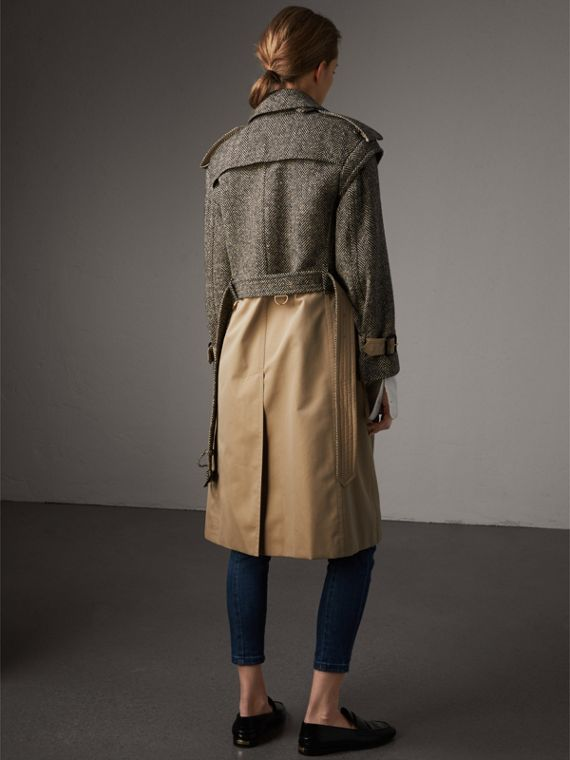 Donegal Tweed and Cotton Gabardine Trench Coat in Natural White/black - Women | Burberry - cell image 2