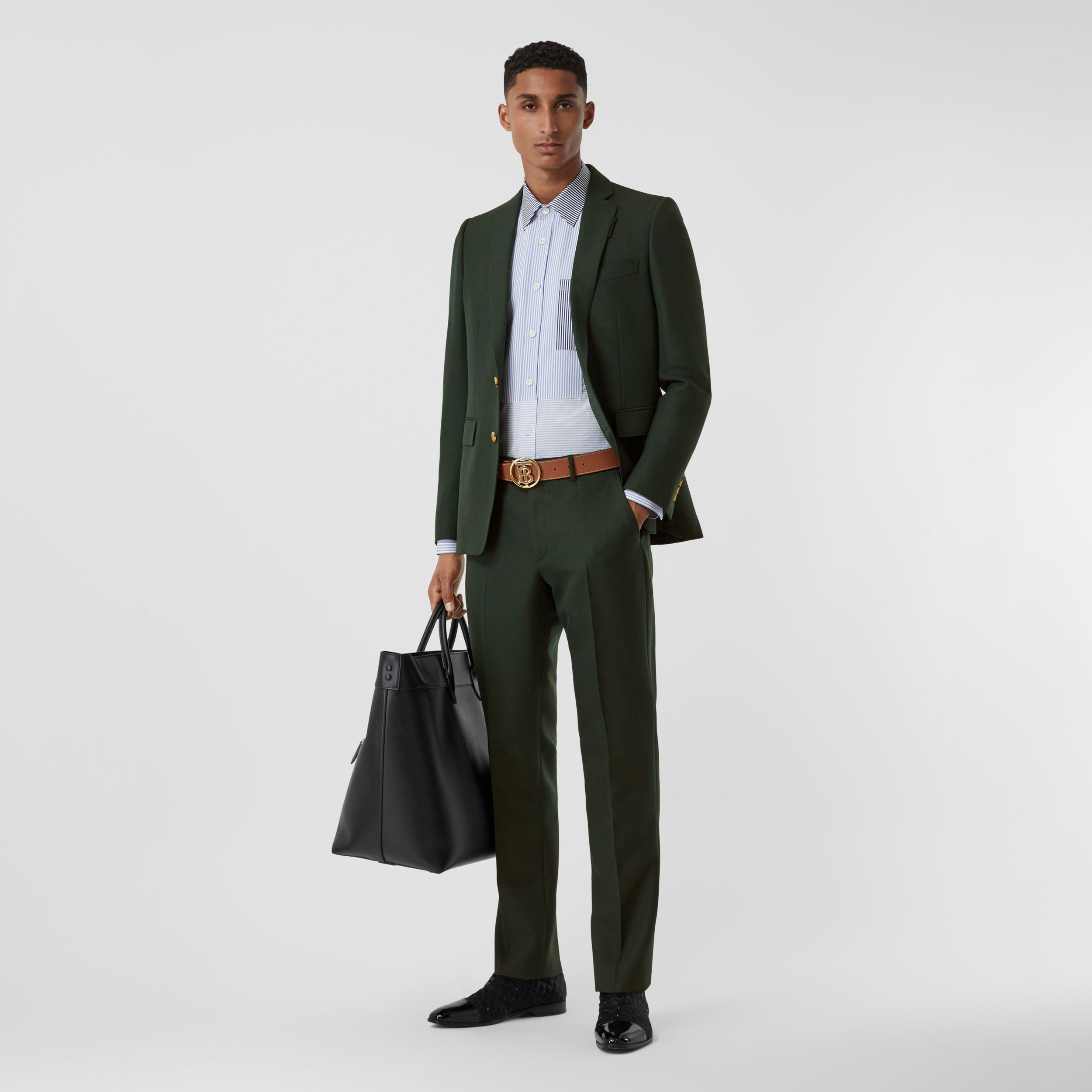 Classic Fit Wool Mohair Tailored Trousers in Dark Forest Green - Men | Burberry - 1