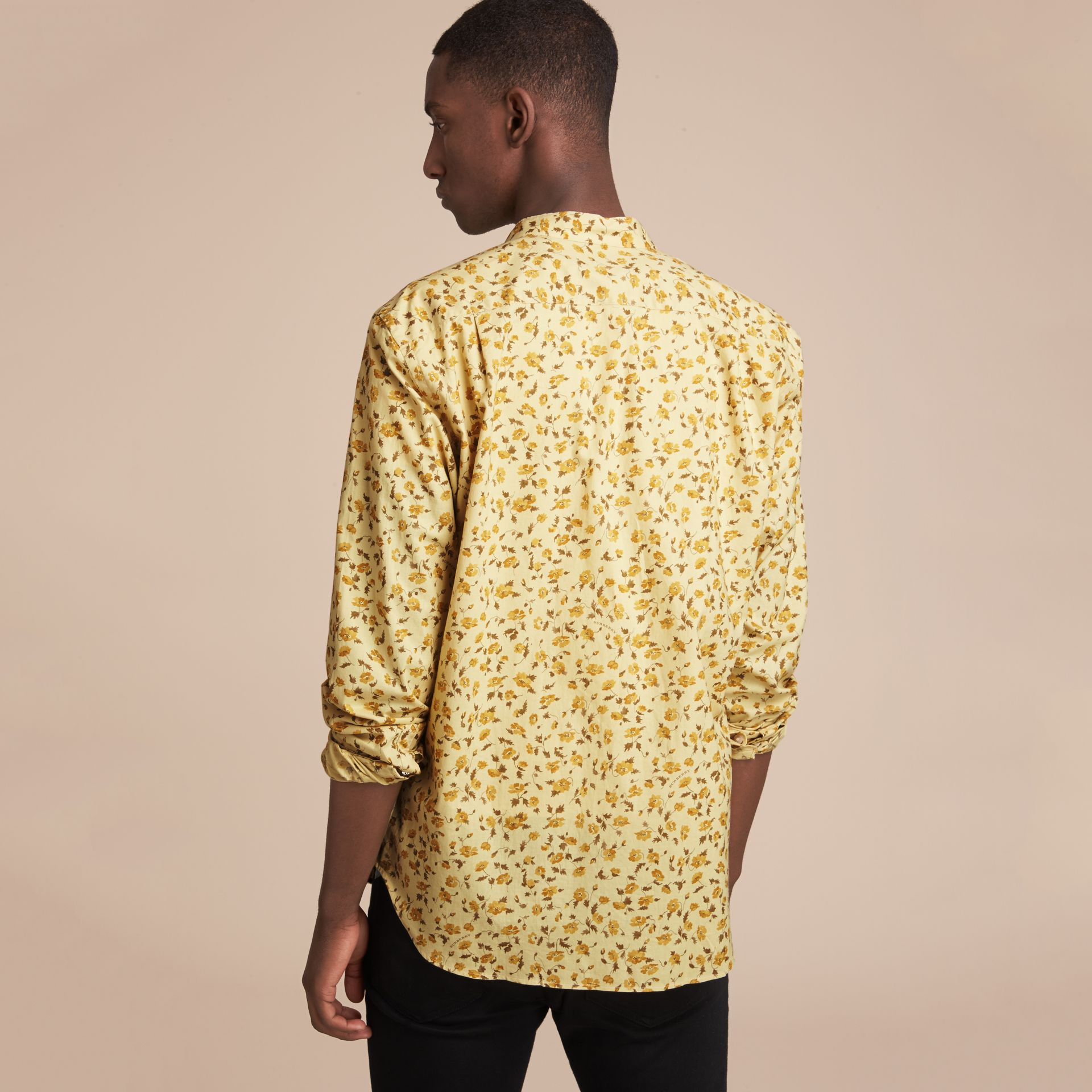 Grandad Collar Floral Print Cotton Poplin Shirt in Chalk Yellow - Men | Burberry - gallery image 3