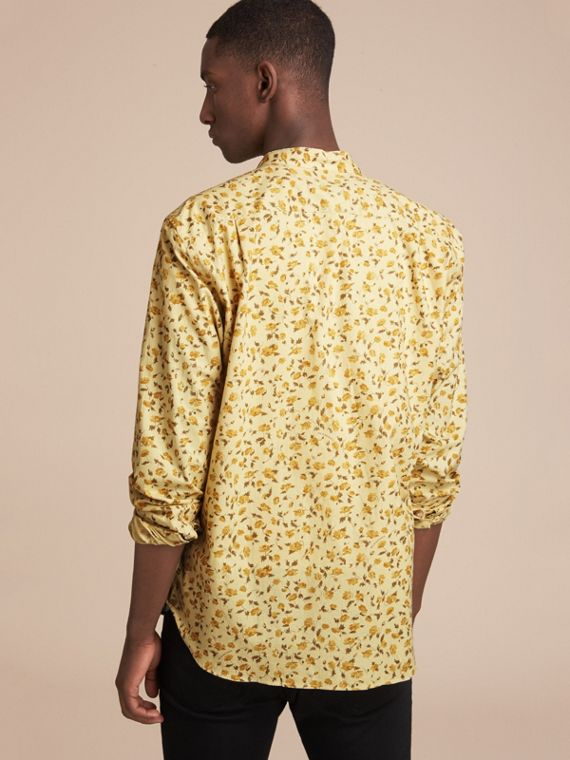Grandad Collar Floral Print Cotton Poplin Shirt in Chalk Yellow - Men | Burberry - cell image 2
