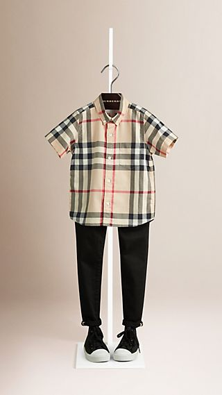 Short-sleeve Check Cotton Twill Shirt