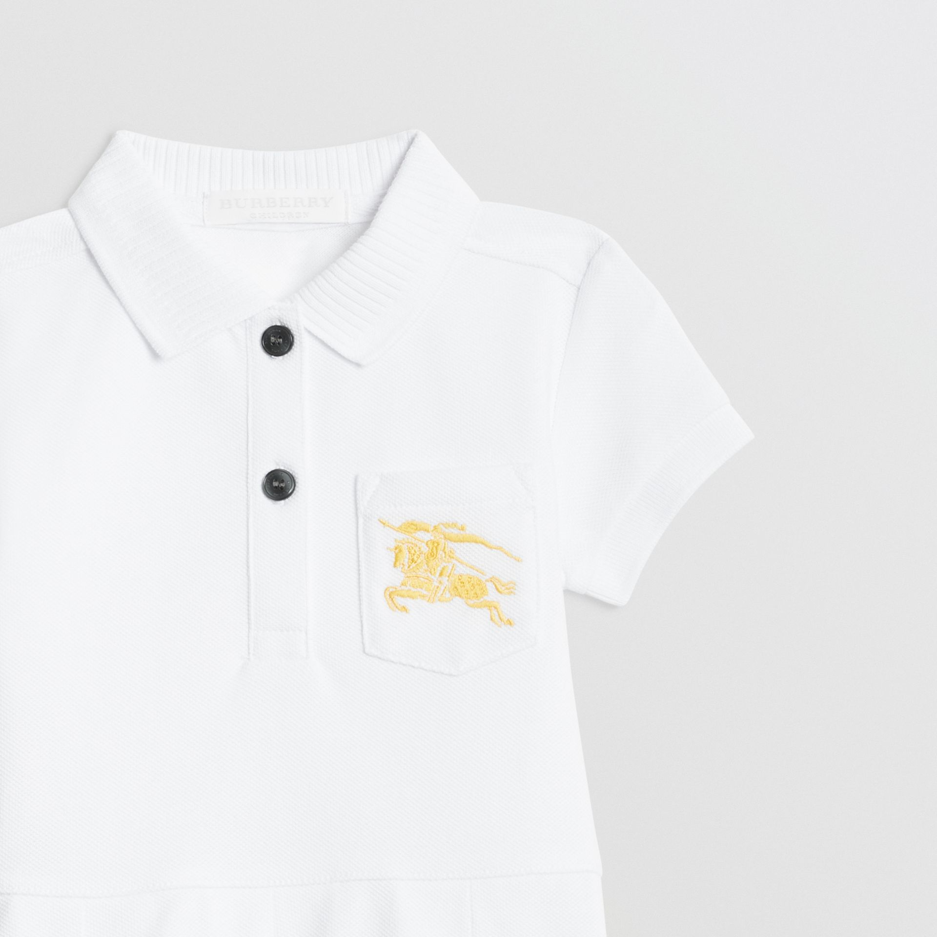 EKD Logo Cotton Polo Dress in White - Children | Burberry - gallery image 4