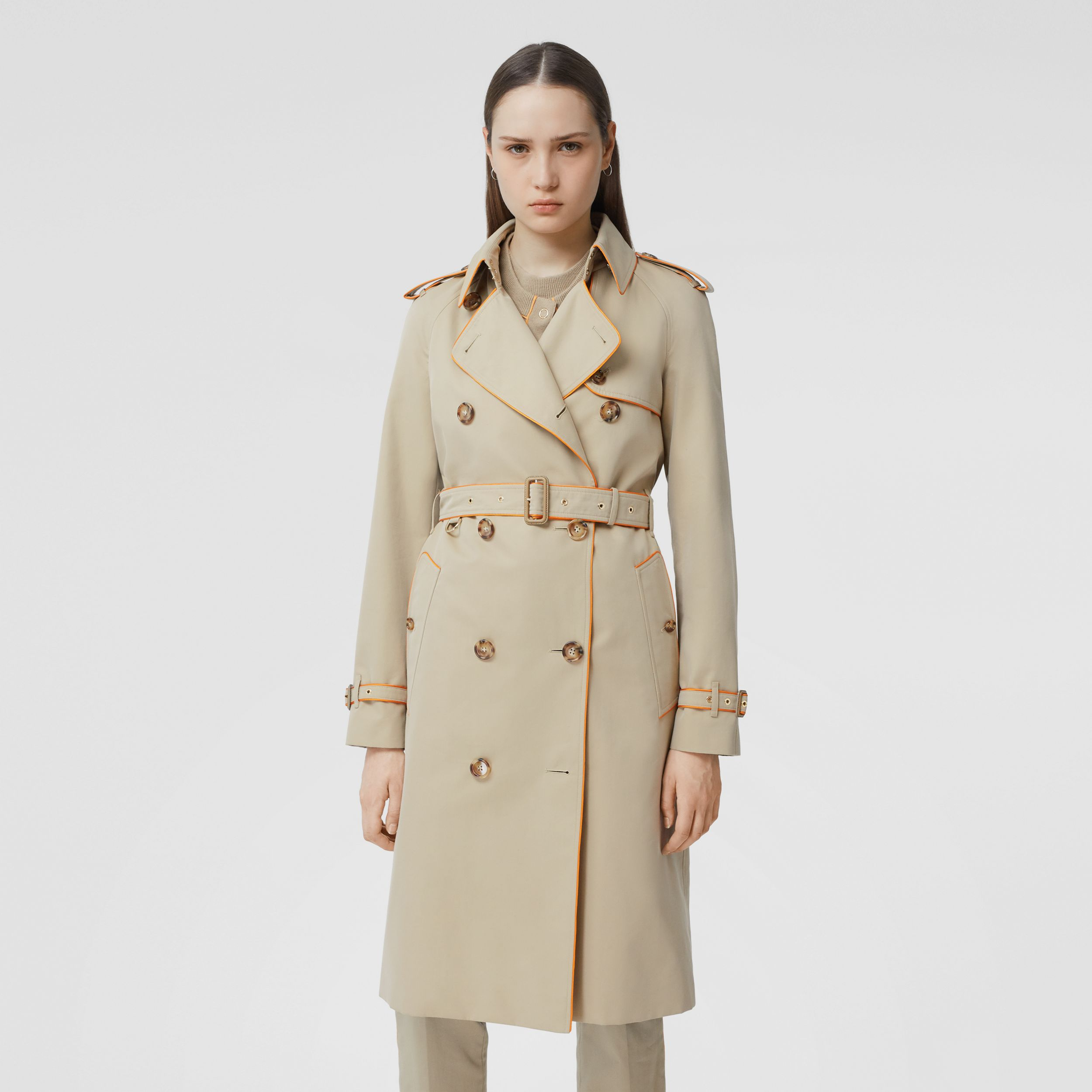 Piped Cotton Gabardine Trench Coat in Honey - Women | Burberry Canada - 1