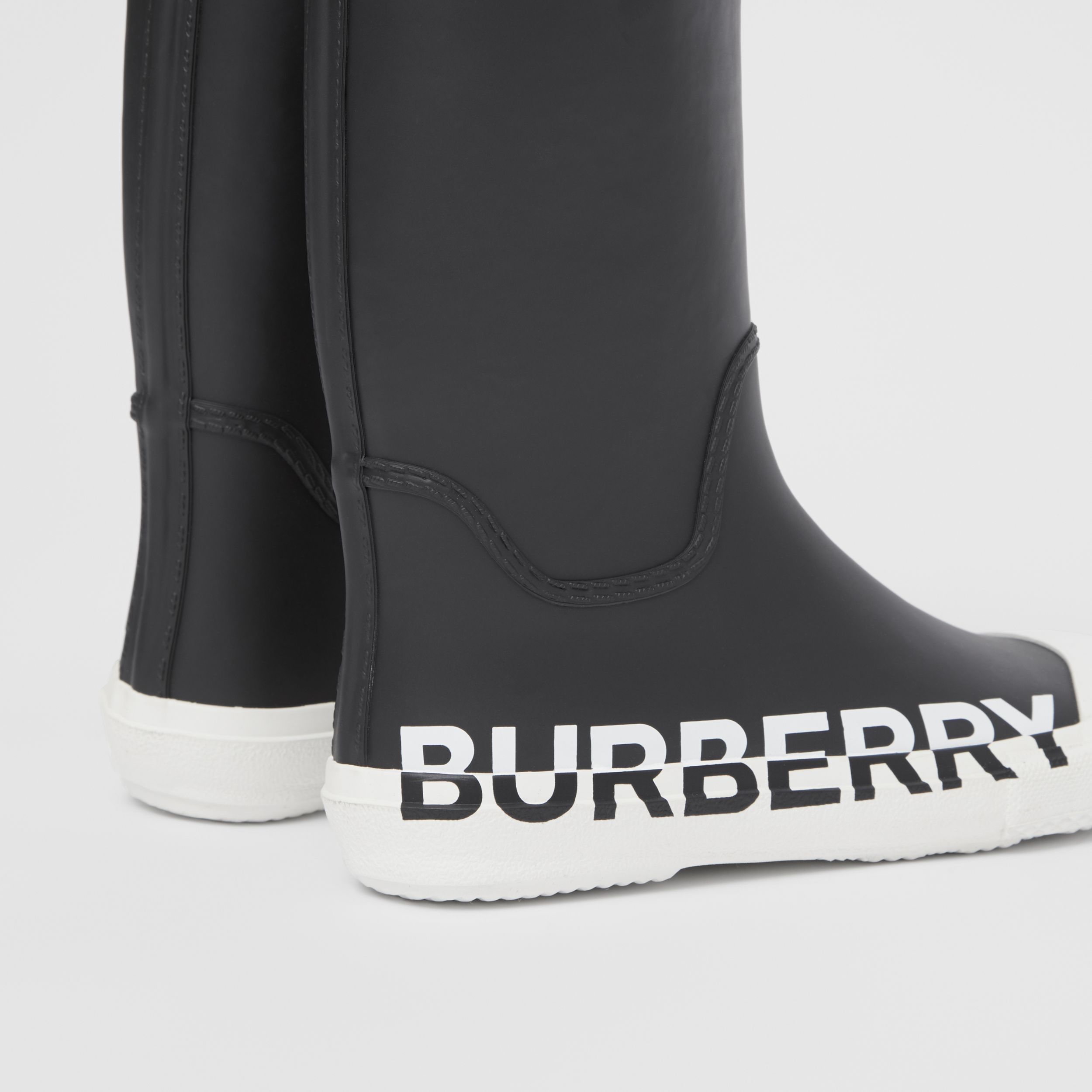 Logo Print Two-tone Rubber Rain Boots in Black - Children | Burberry - 2