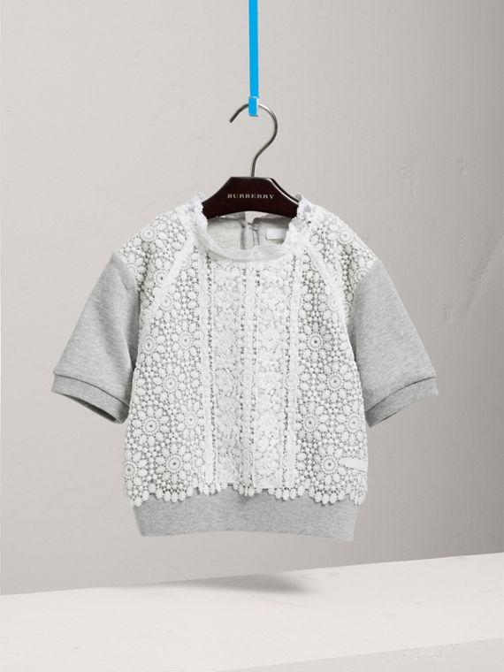 Short-sleeve Lace Detail Cotton Jersey Sweatshirt in Grey Melange