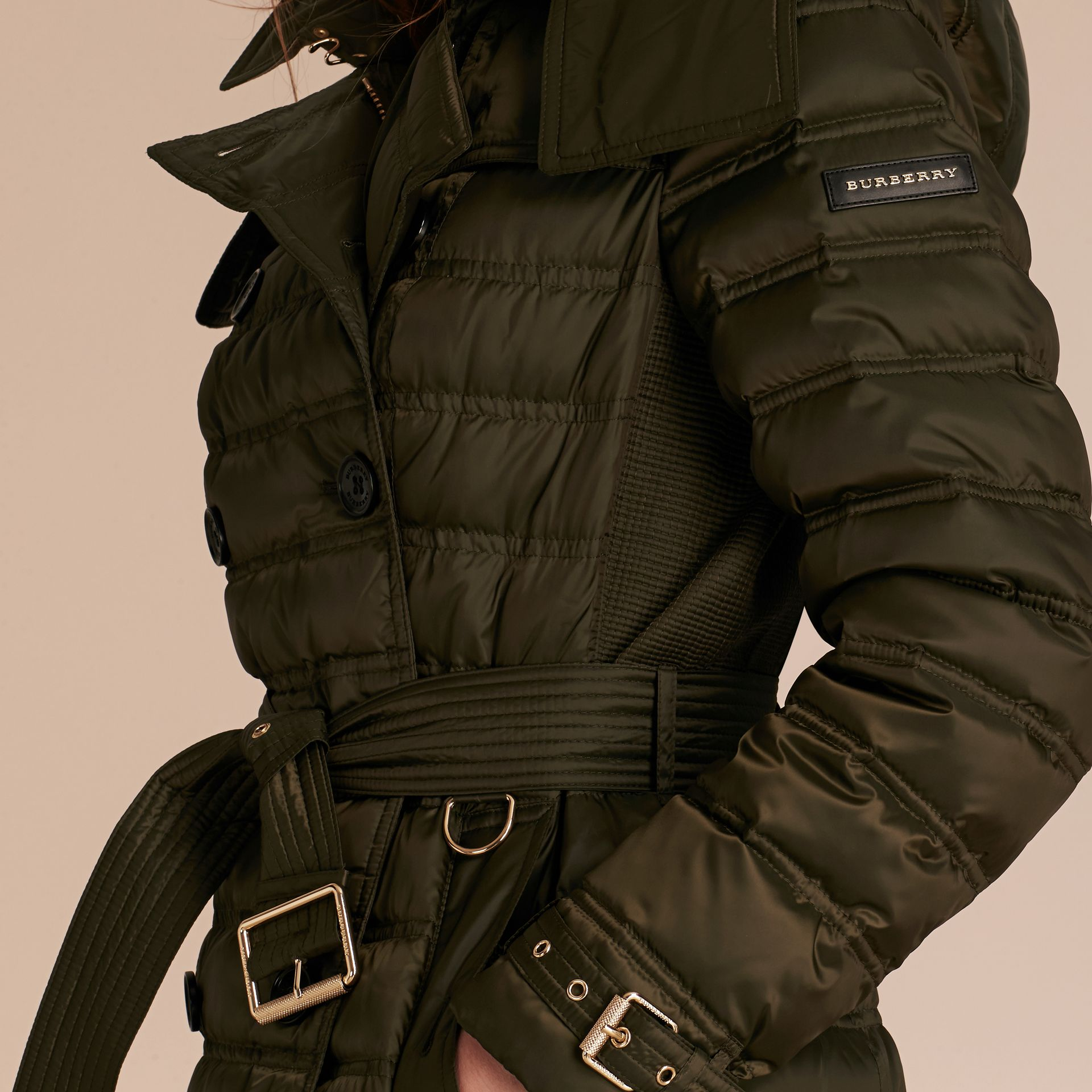 Down-filled Puffer Coat with Detachable Hood in Dark Olive - gallery image 6