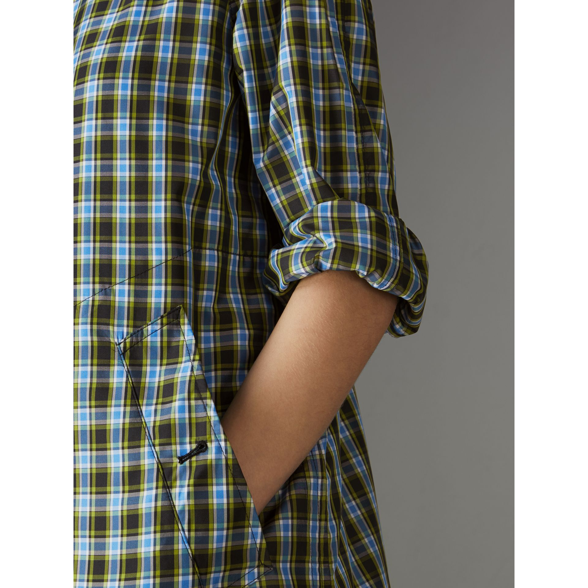 Lightweight Check Extra-long Car Coat in Azure Blue - Women | Burberry - gallery image 1