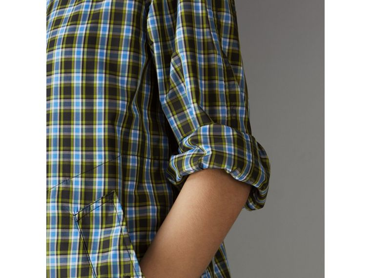 Lightweight Check Extra-long Car Coat in Azure Blue - Women | Burberry - cell image 1