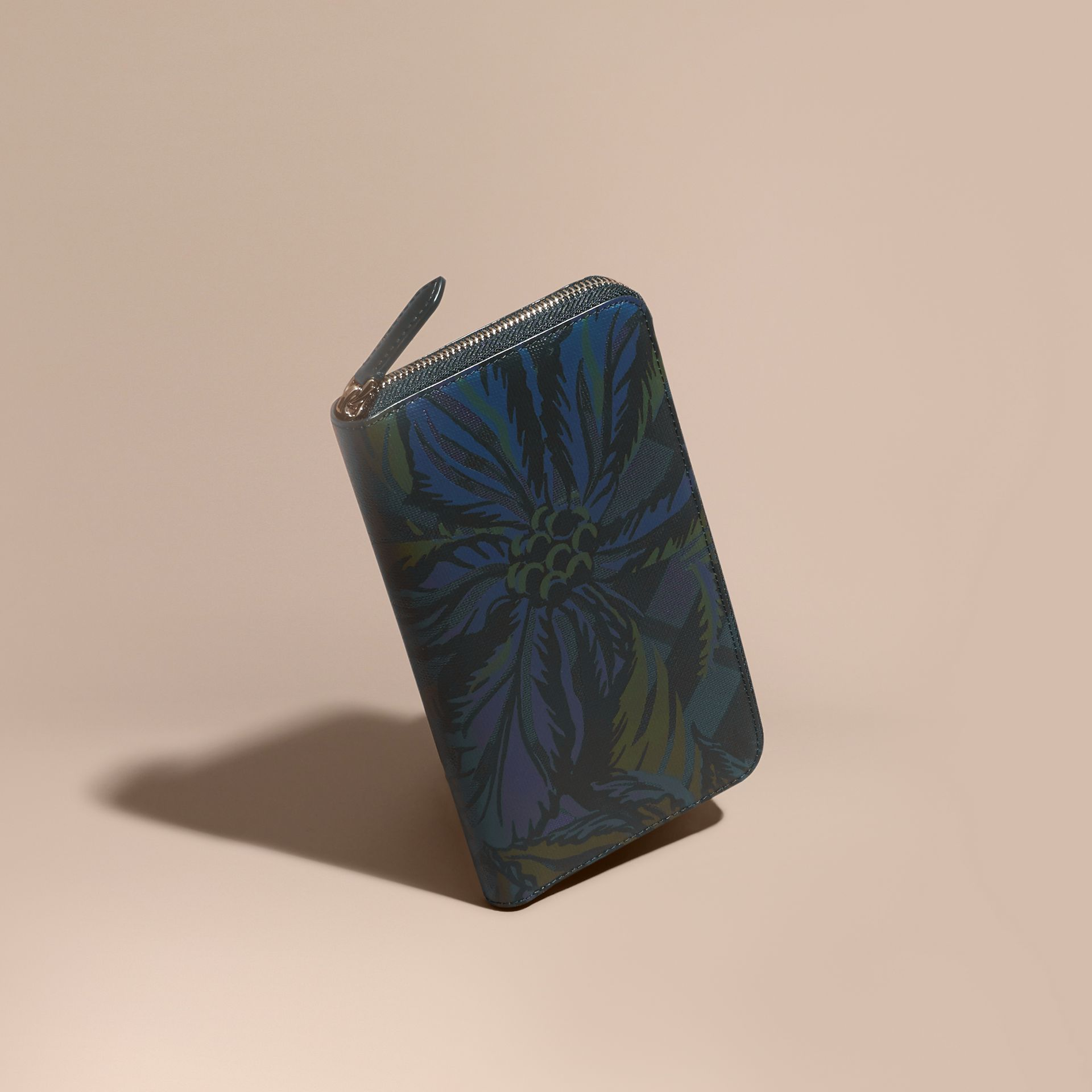 Floral Print London Check Ziparound Wallet Navy - gallery image 1