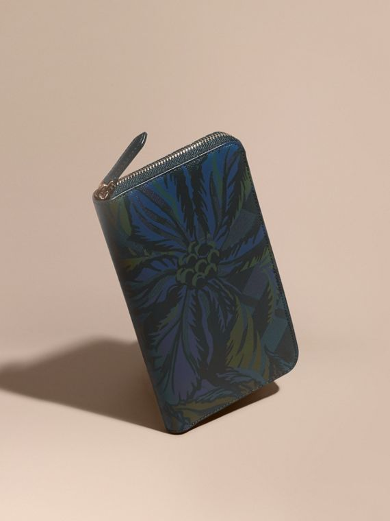 Floral Print London Check Ziparound Wallet Navy