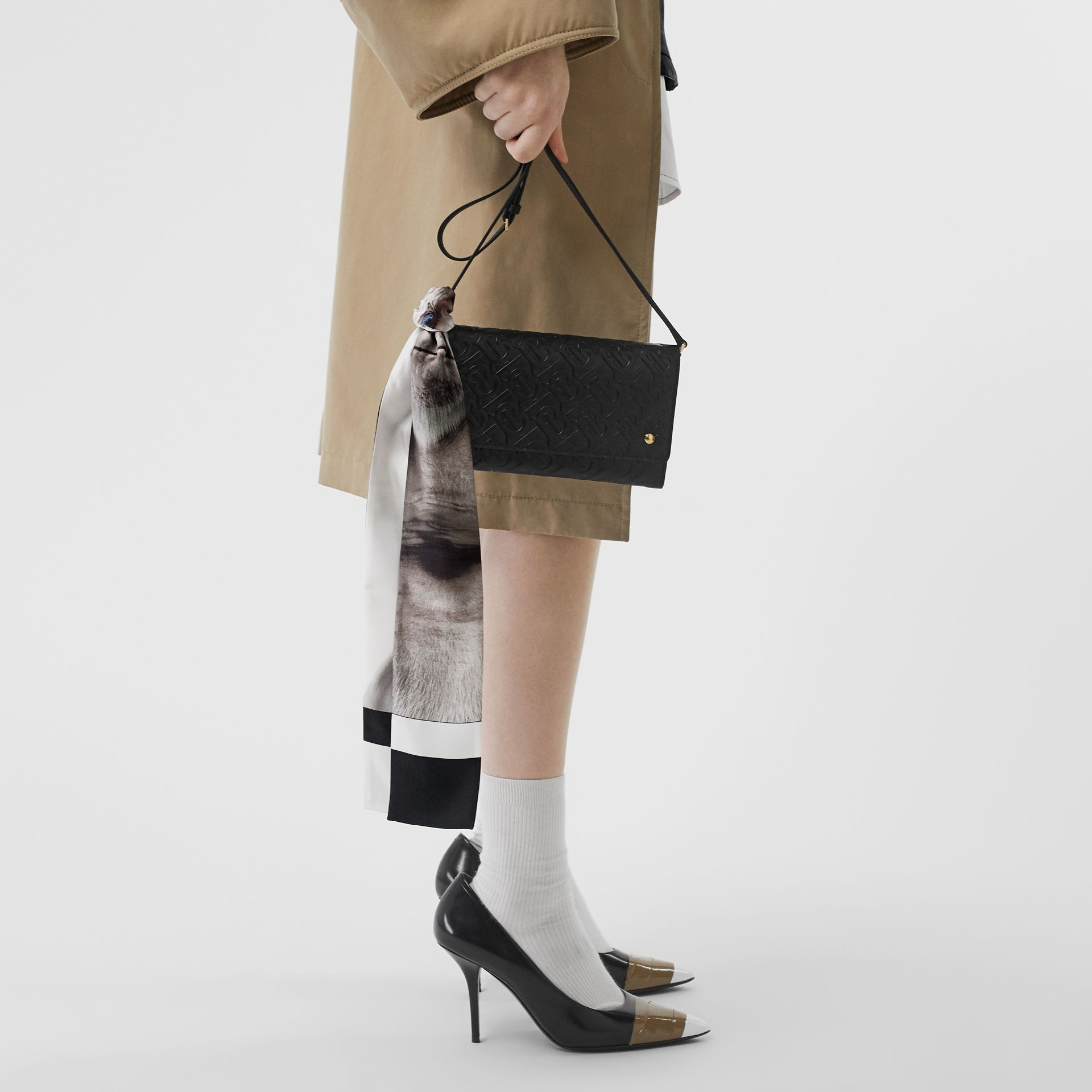 Montage Print Silk Skinny Scarf in White | Burberry - gallery image 2