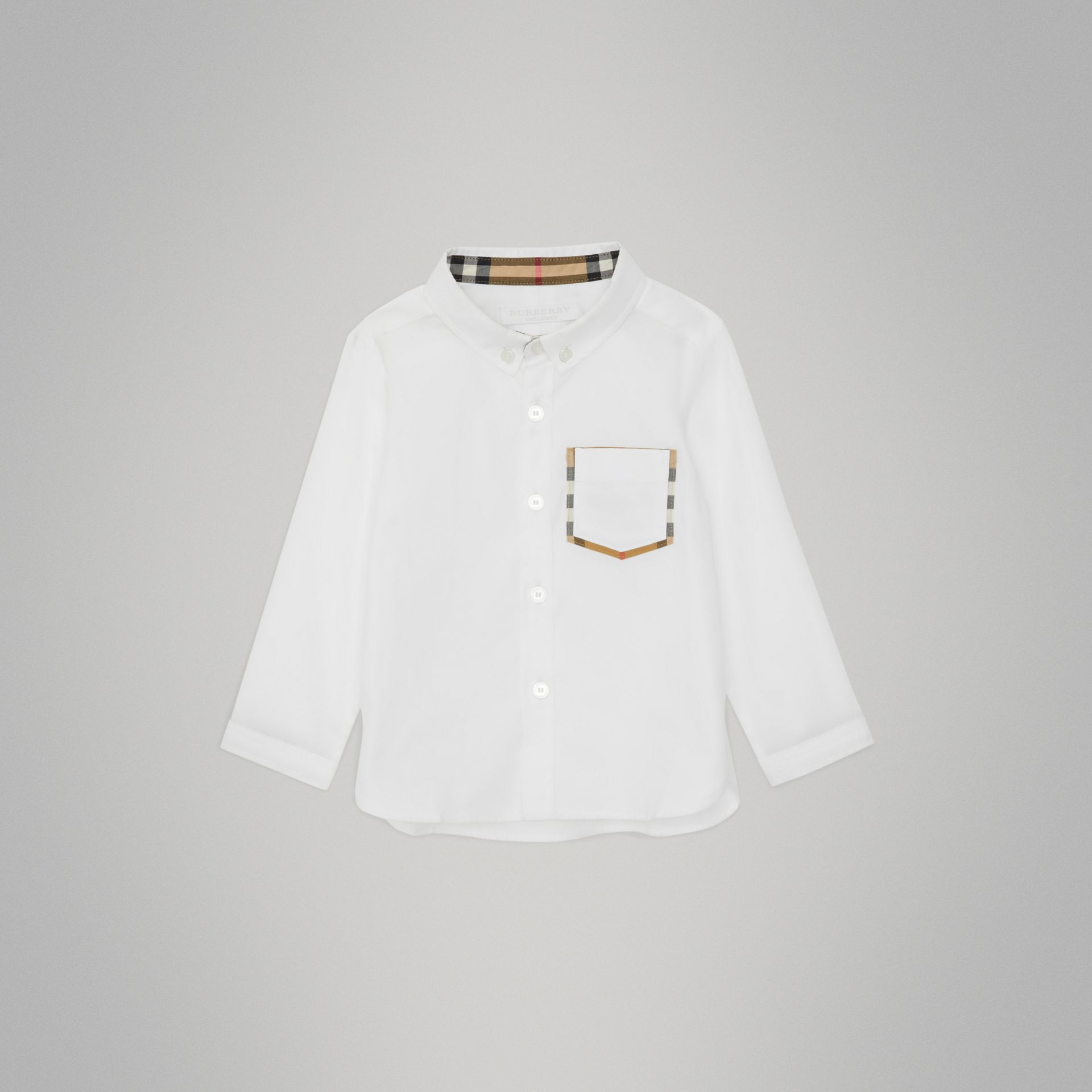 Check Detail Cotton Oxford Shirt in White - Children | Burberry United Kingdom - gallery image 0
