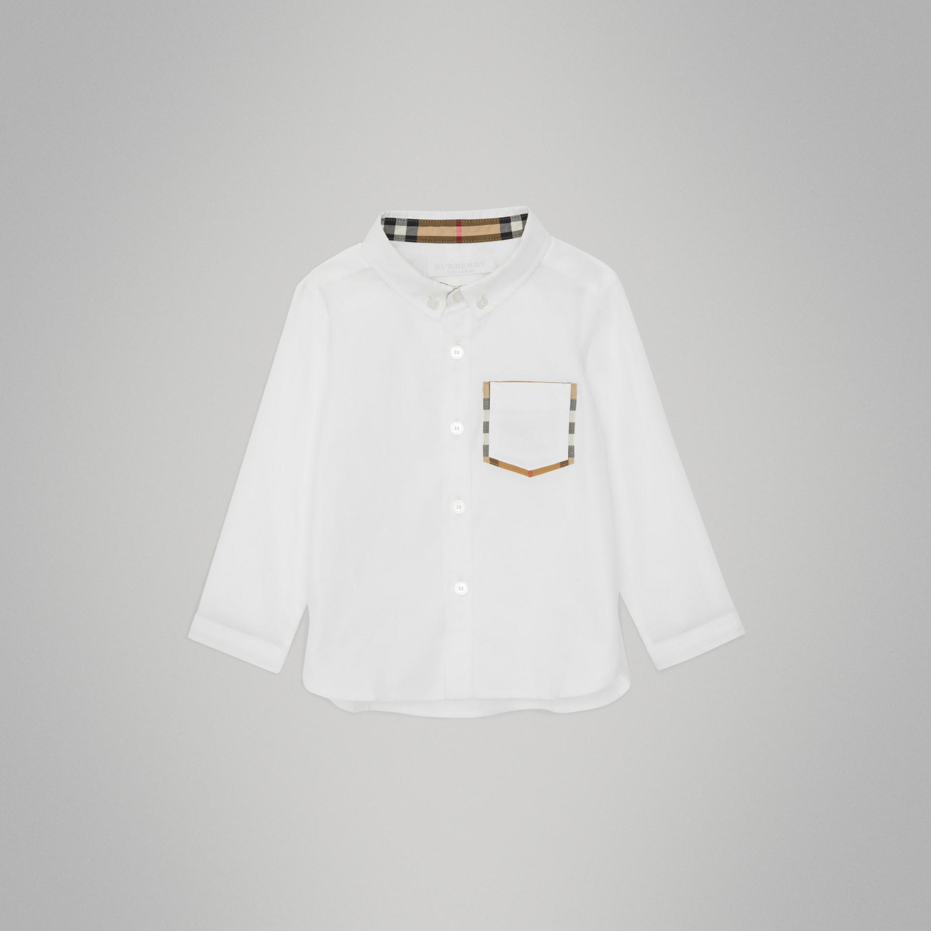 Camisa Oxford de algodão com detalhe xadrez (Branco) - Crianças | Burberry - galeria de imagens 0
