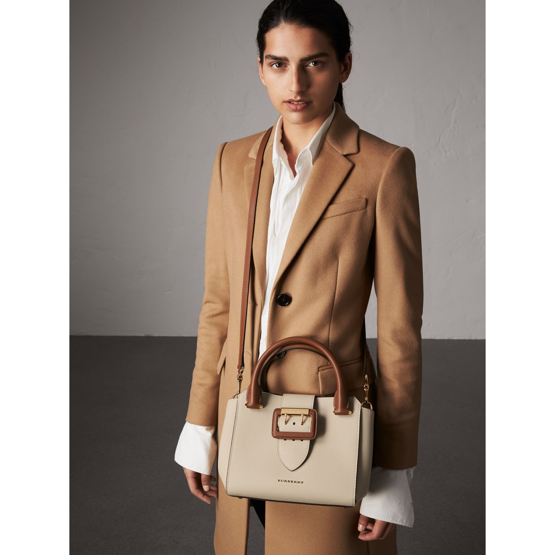 The Small Buckle Tote in Two-tone Leather in Limestone - Women | Burberry United Kingdom - gallery image 3