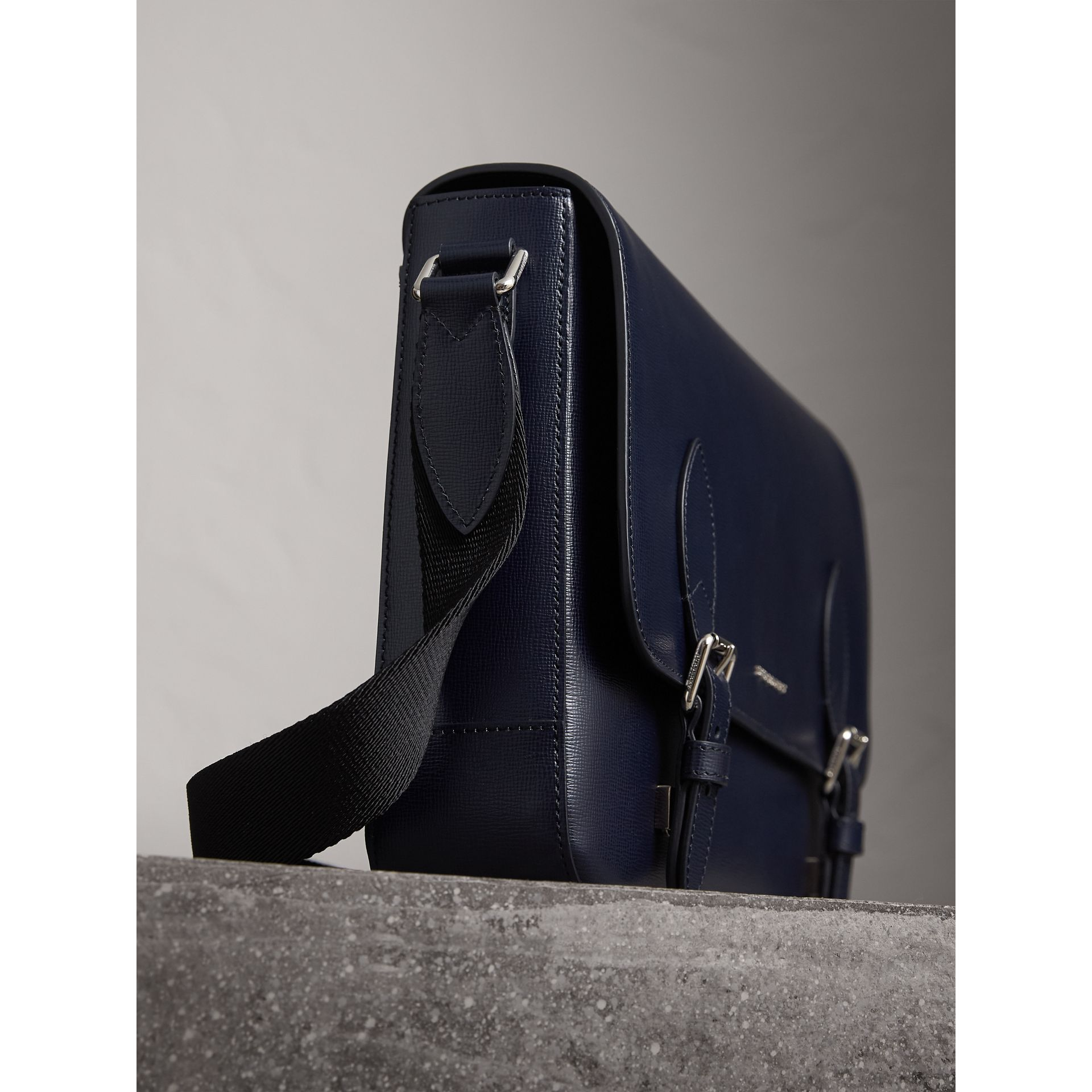 Medium London Leather Messenger Bag in Dark Navy - Men | Burberry - gallery image 5