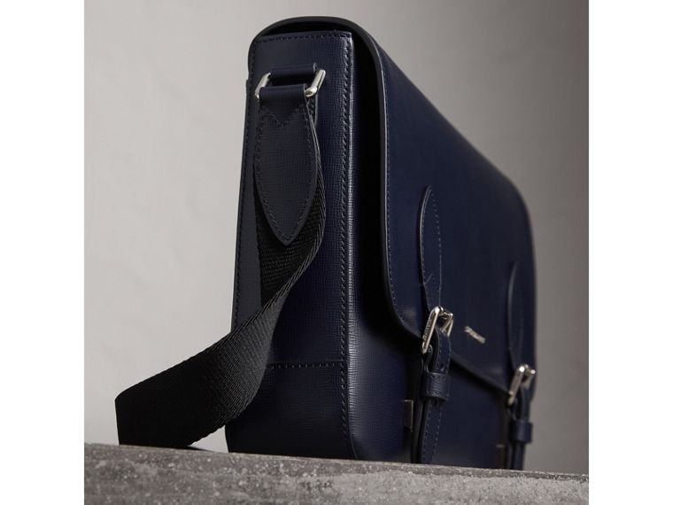 Medium London Leather Messenger Bag in Dark Navy - Men | Burberry - cell image 4