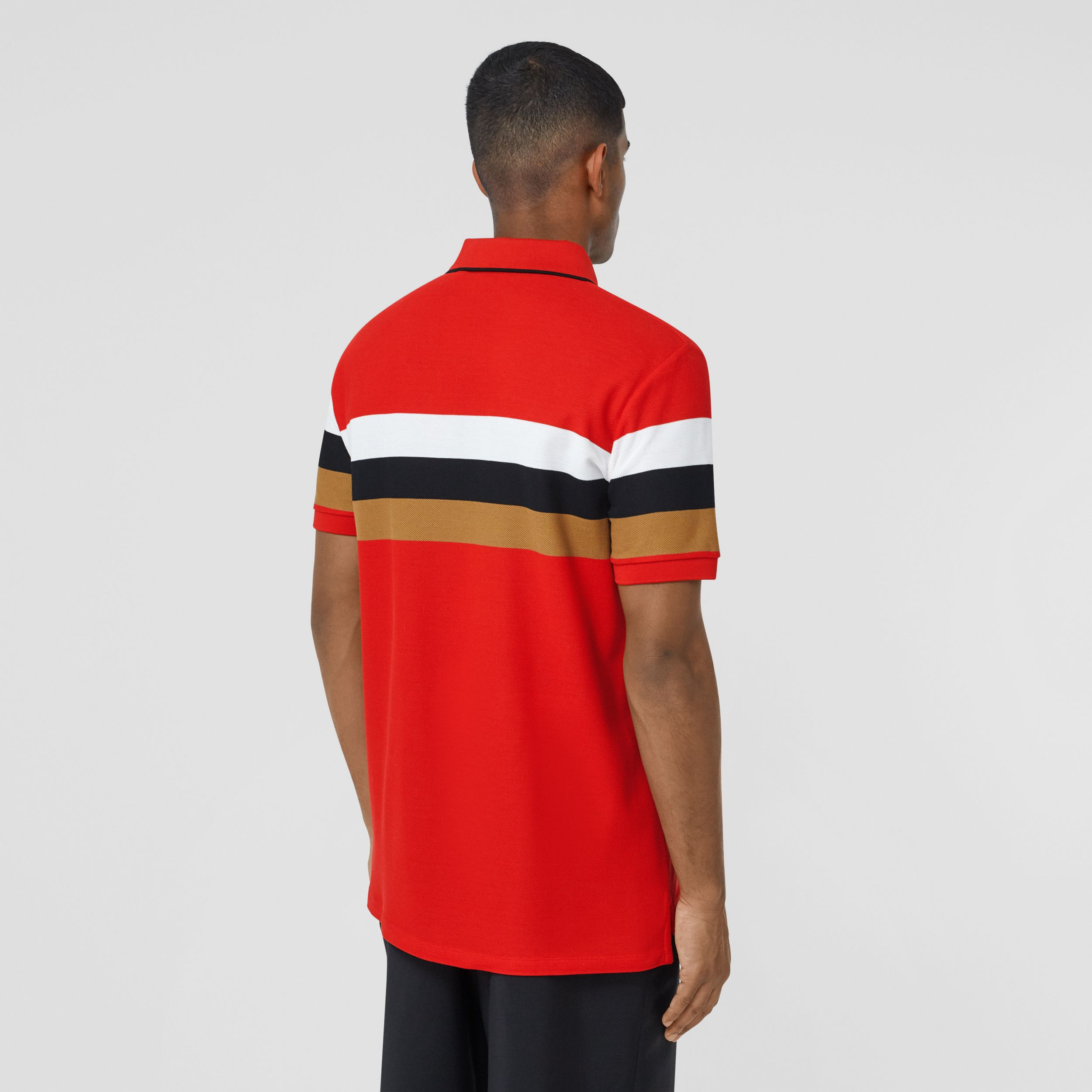 Monogram Motif Striped Cotton Polo Shirt in Bright Red - Men | Burberry - 3