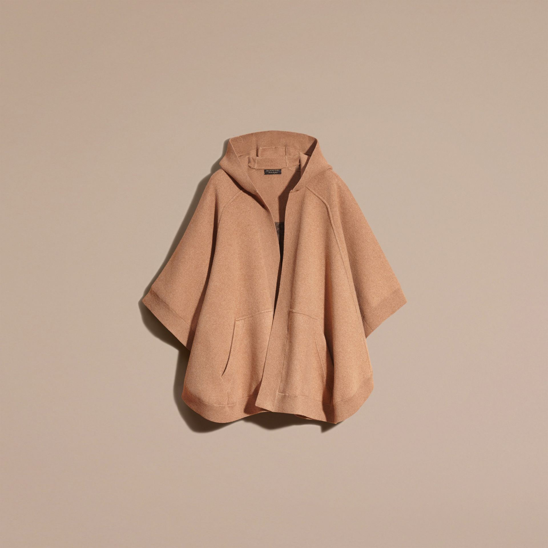Camel Wool Cashmere Blend Hooded Poncho Camel - gallery image 4