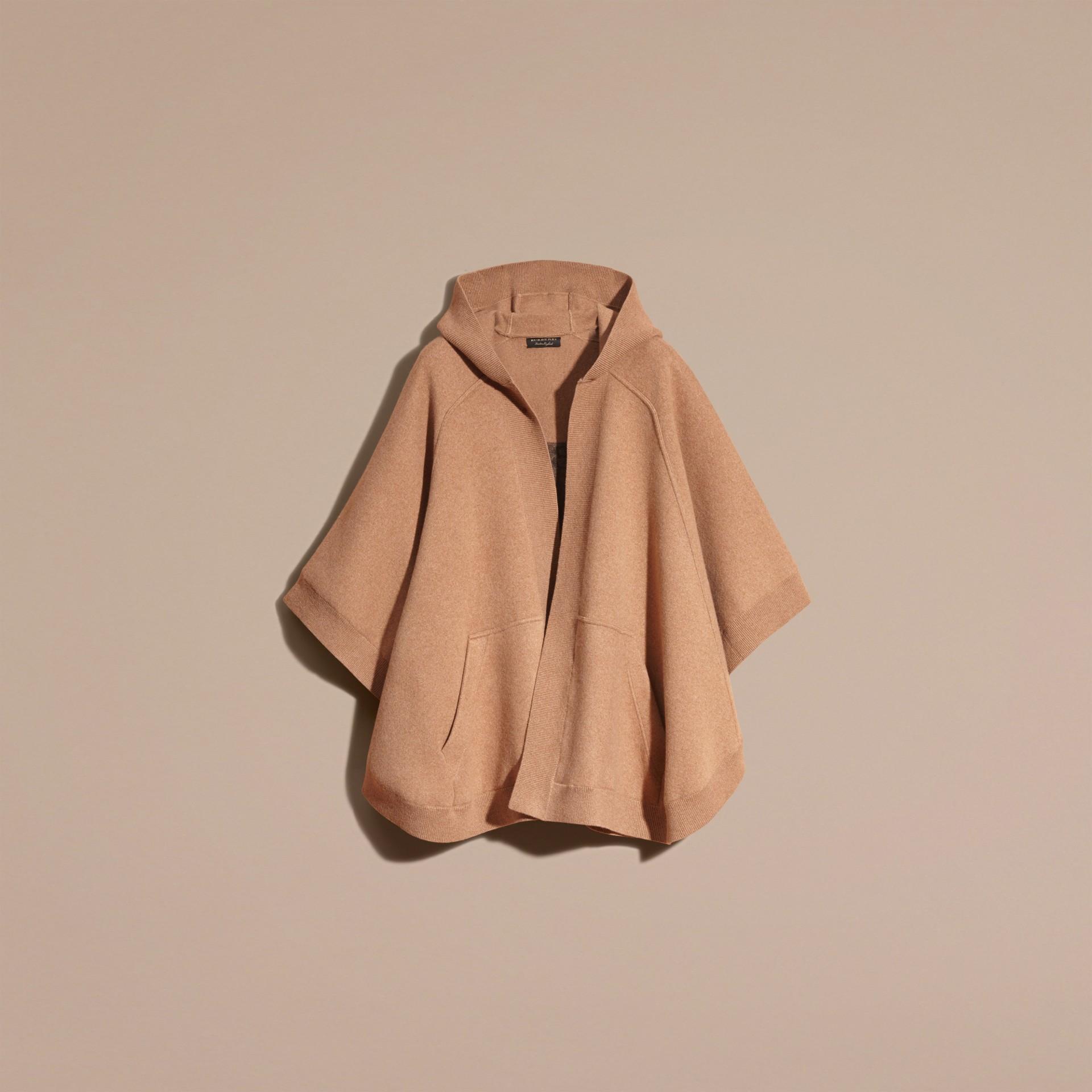 Cammello Poncho con cappuccio in misto lana e cashmere Cammello - immagine della galleria 4
