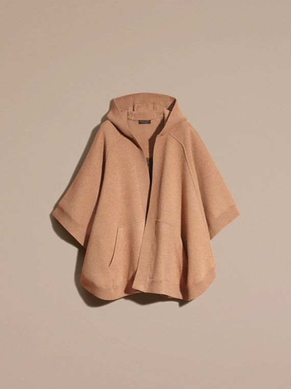 Camel Wool Cashmere Blend Hooded Poncho Camel - cell image 3