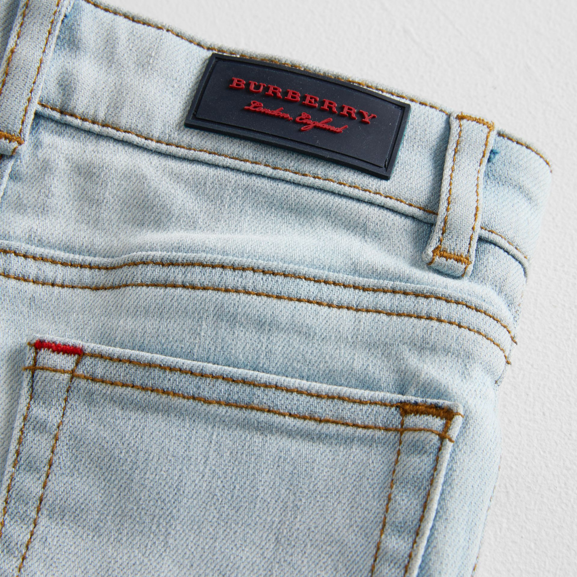 Skinny Fit Stretch Denim Jeans in Light Blue - Children | Burberry Canada - gallery image 1