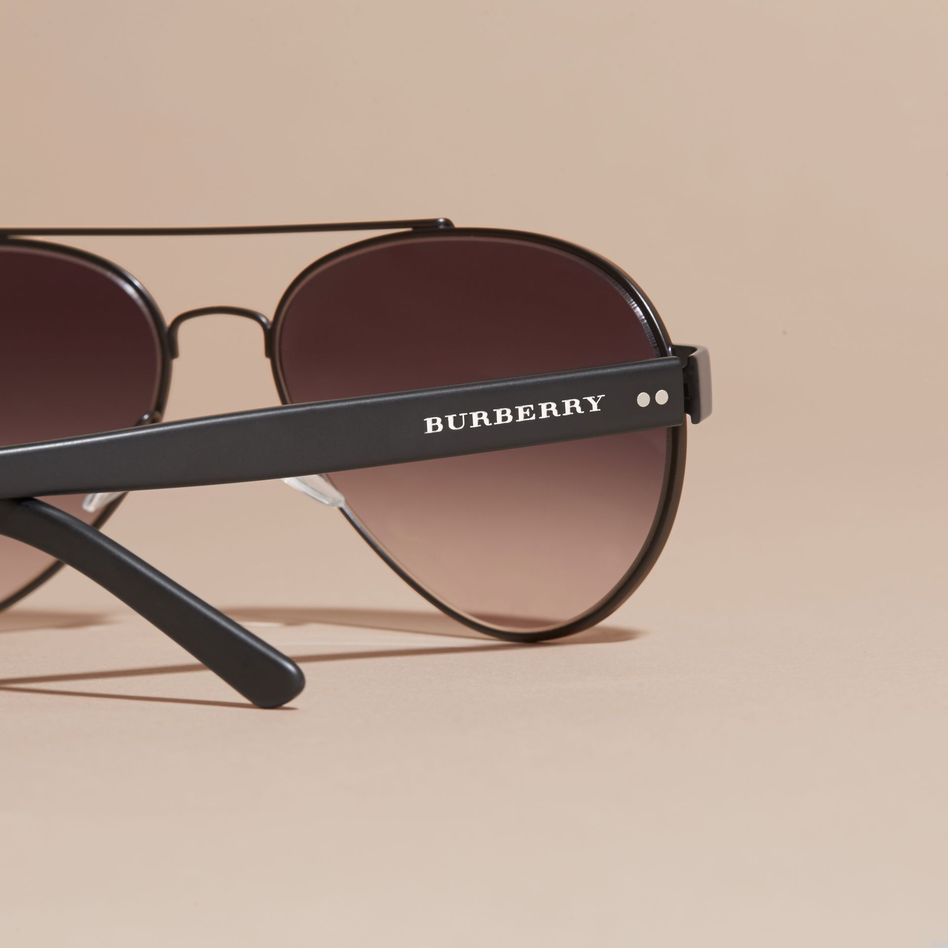 Pilot Sunglasses in Black - Men | Burberry - gallery image 2