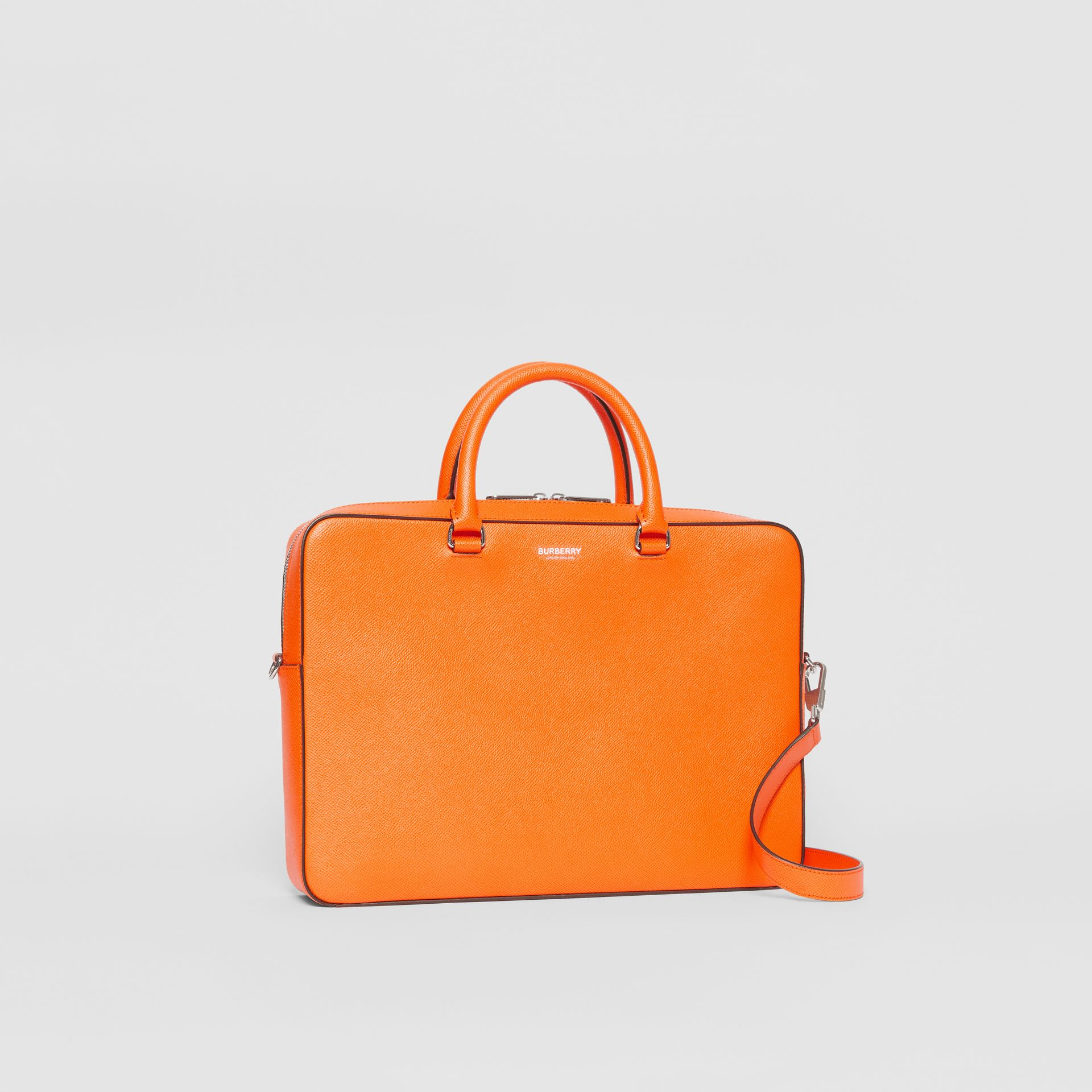 Grainy Leather Briefcase in Bright Orange - Men | Burberry - gallery image 6