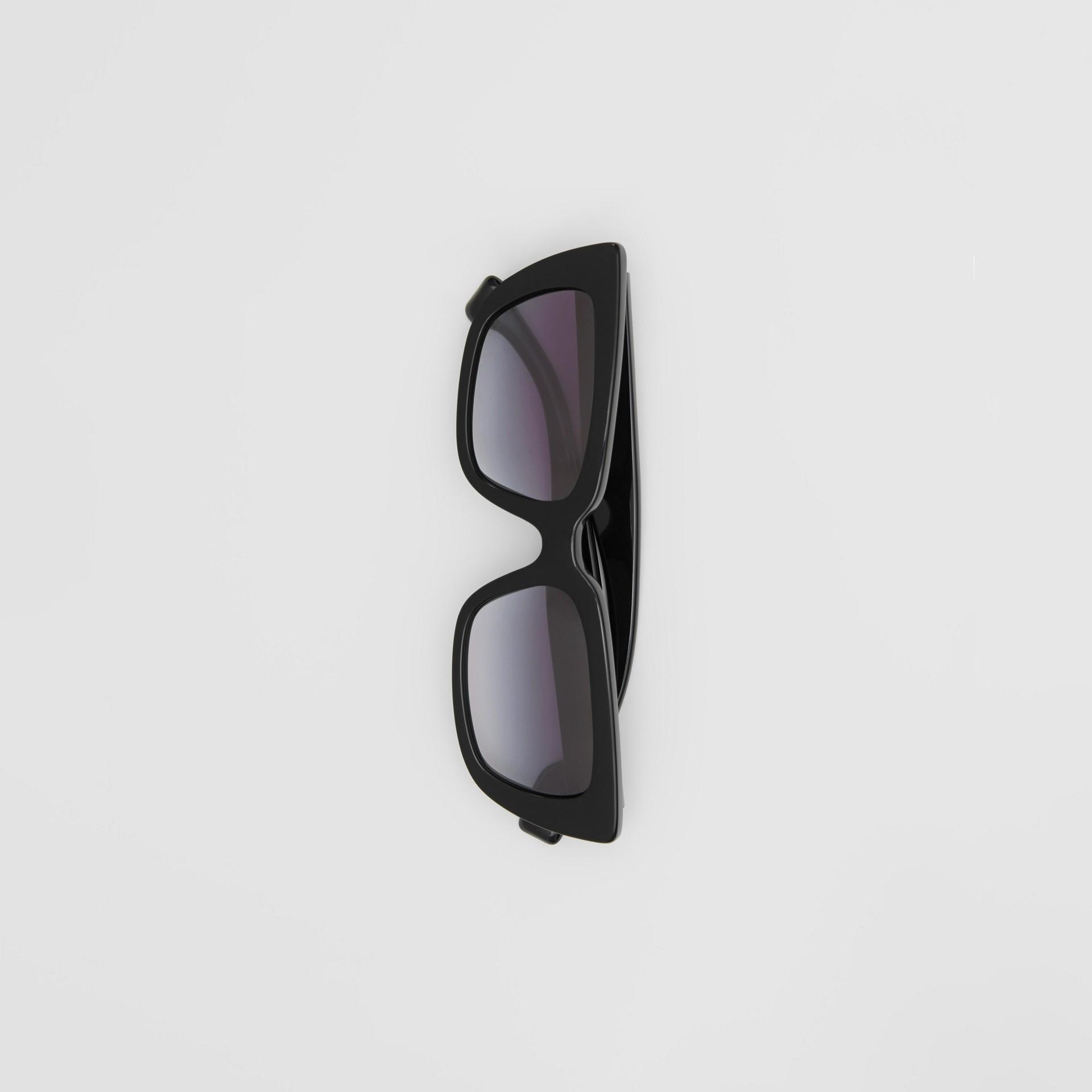 Bio-acetate Rectangular Frame Sunglasses in Black - Women | Burberry United Kingdom - gallery image 3