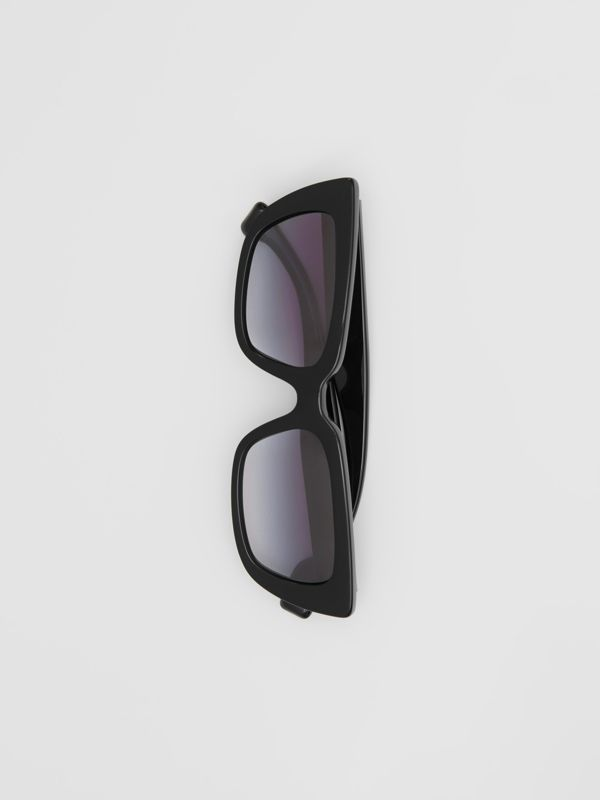 Bio-acetate Rectangular Frame Sunglasses in Black - Women | Burberry United Kingdom - cell image 3