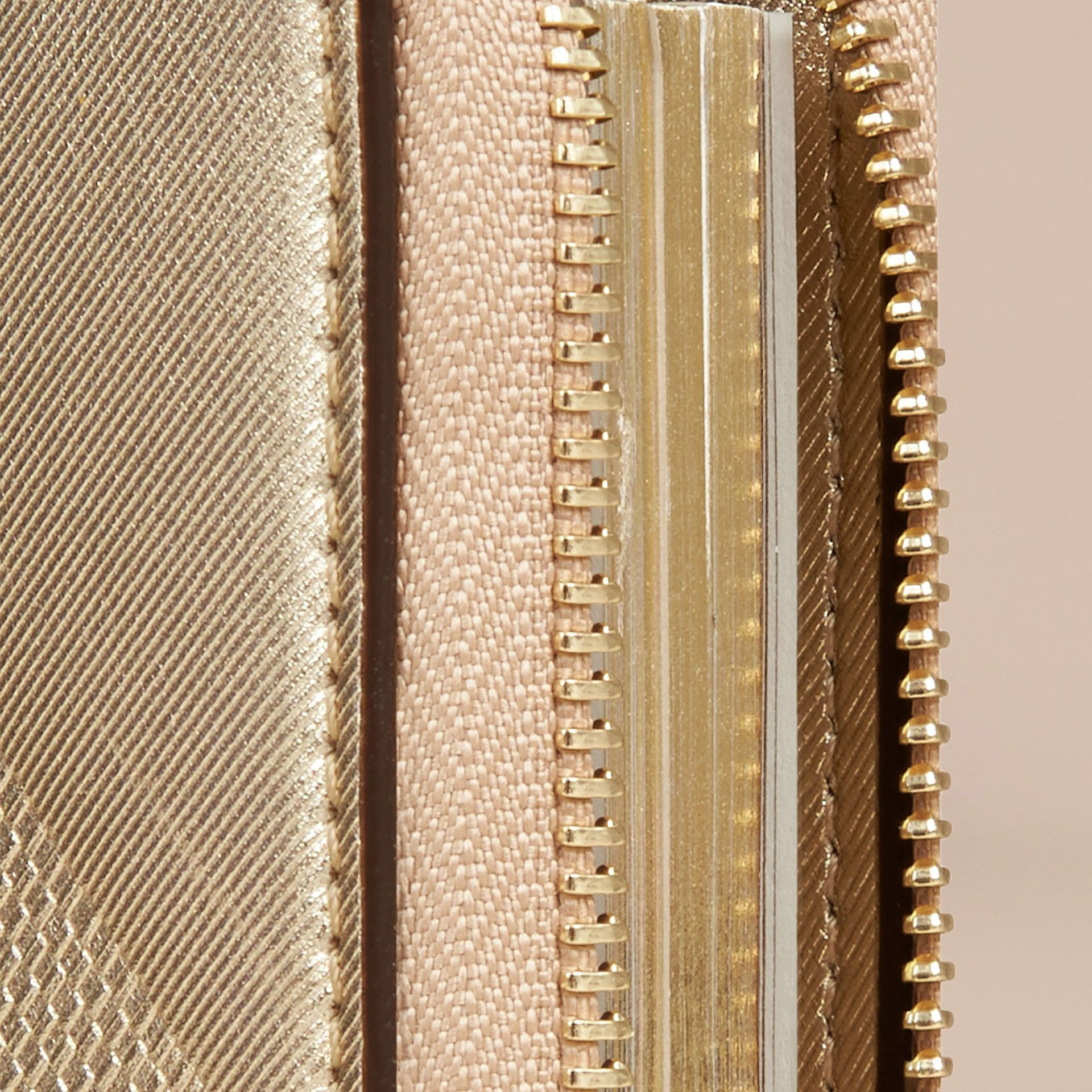 Gold Ziparound Check-embossed Metallic Leather Mini Notebook - gallery image 2