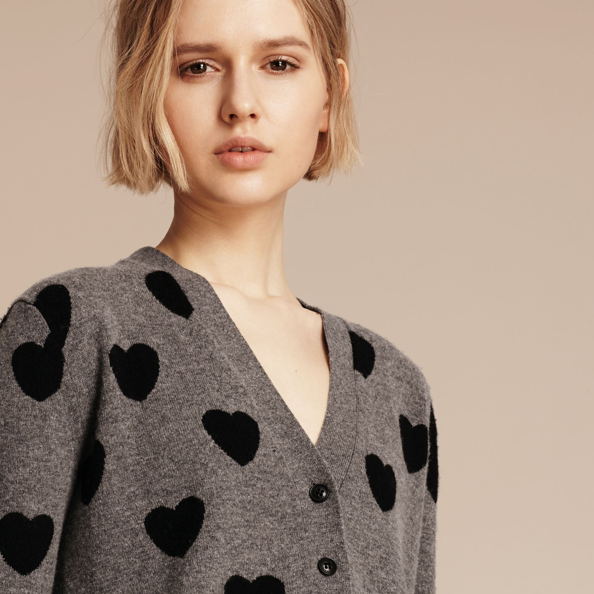 Heart Intarsia Merino Wool Cardigan in Mid Grey Melange - Women | Burberry - gallery image 5