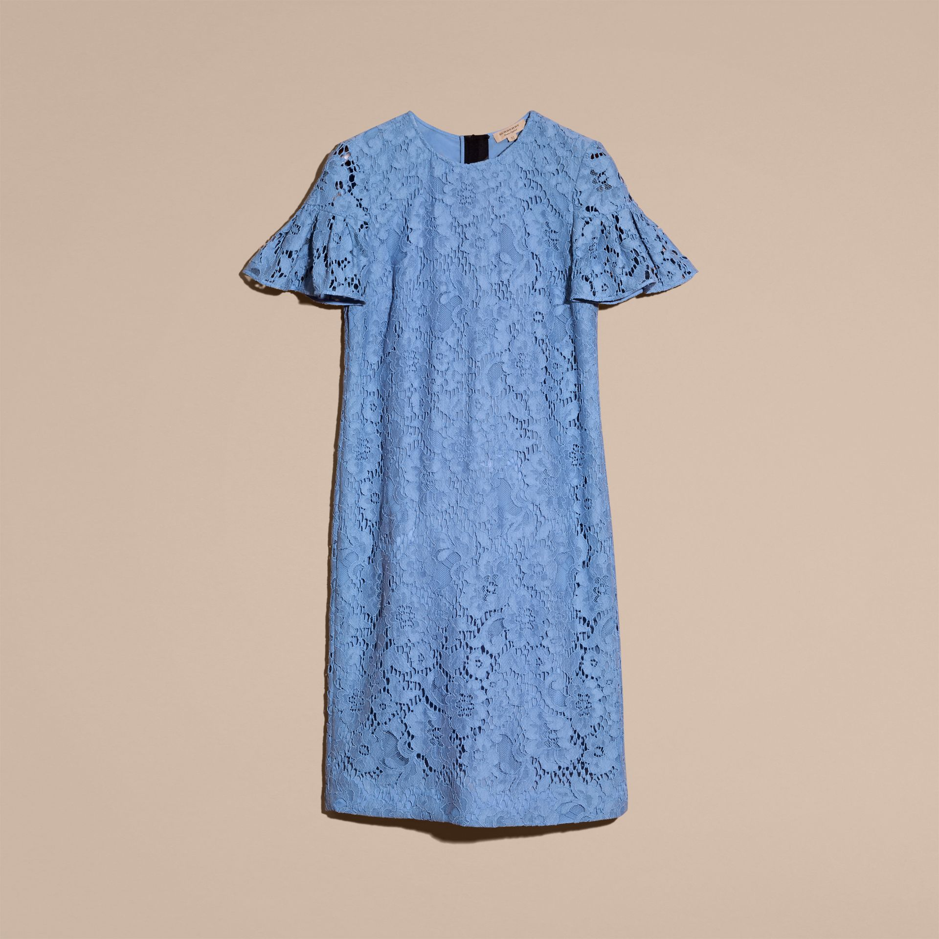 Macramé Lace Shift Dress with Ruffle Sleeves Cornflower - gallery image 4